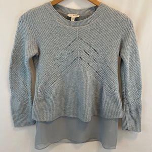 Lucky Brand Pale Blue Metallic Layered Sweater M